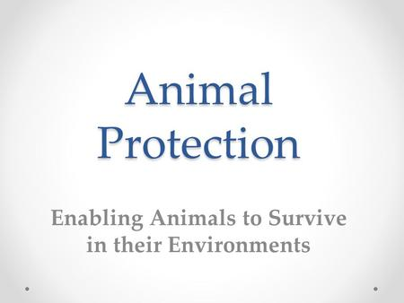 Animal Protection Enabling Animals to Survive in their Environments.