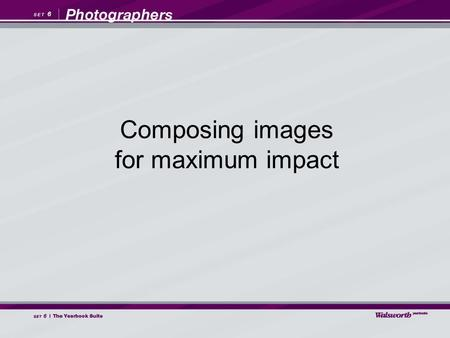 Composing images for maximum impact. While visual storytelling is mainly about content, it is the composition of the images that determines how effectively.