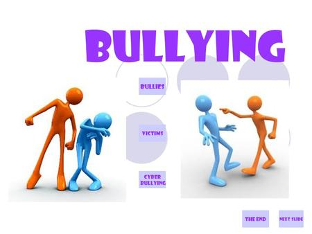 BULLYING Next slide Bullies VICTiMS CYBER BULLYING The end.
