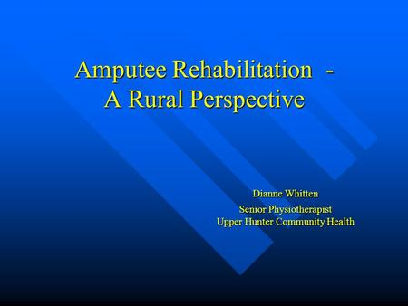Amputee Rehabilitation - A Rural Perspective Dianne Whitten Senior Physiotherapist Upper Hunter Community Health.