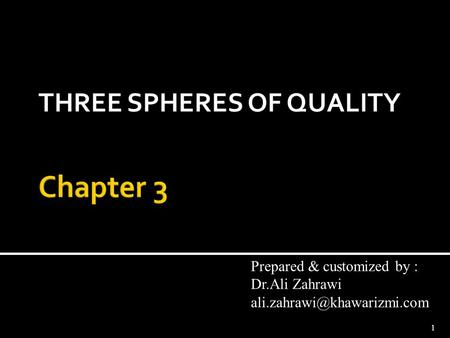 THREE SPHERES OF QUALITY 1 Prepared & customized by : Dr.Ali Zahrawi