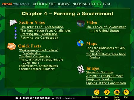 Chapter 4 – Forming a Government