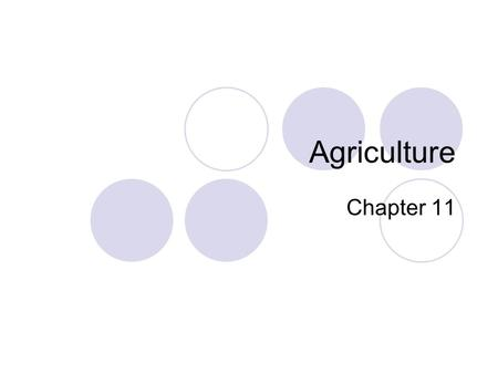 Agriculture Chapter 11. Agriculture Agriculture – the purposeful tending of crops and raising of livestock in order to produce food and fiber.