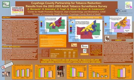 Cuyahoga County Partnership for Tobacco Reduction: Results from the 2003-2005 Adult Tobacco Surveillance Survey E. Borawski 1, S. Zelenskiy 1, E. Trapl.