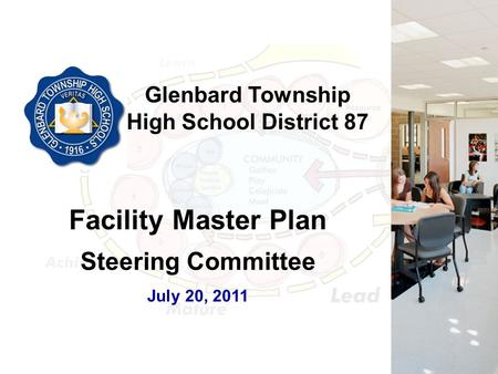 Glenbard Township High School District 87 Facility Master Plan Steering Committee July 20, 2011.