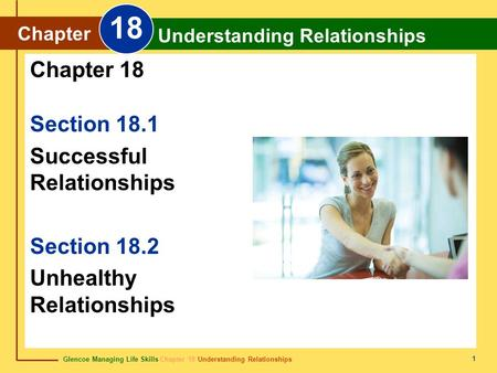 Glencoe Managing Life Skills Chapter 18 Understanding Relationships Chapter 18 Understanding Relationships 1 Section 18.1 Successful Relationships Section.