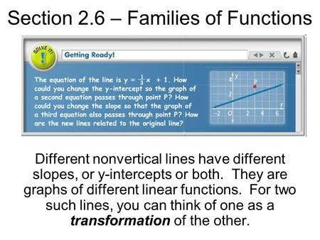 Section 2.6 – Families of Functions Different nonvertical lines have different slopes, or y-intercepts or both. They are graphs of different linear functions.