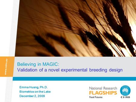 Believing in MAGIC: Validation of a novel experimental breeding design Emma Huang, Ph.D. Biometrics on the Lake December 2, 2009.
