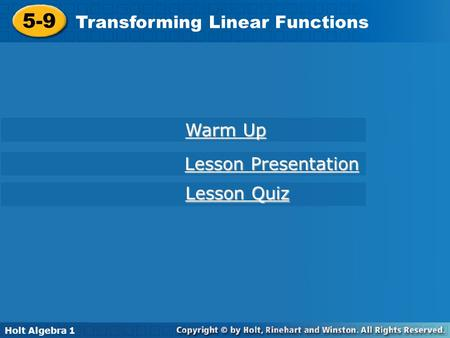 5-9 Transforming Linear Functions Warm Up Lesson Presentation