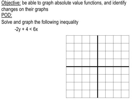 Objective: be able to graph absolute value functions, and identify changes on their graphs POD: Solve and graph the following inequality -2y + 4 < 6x.
