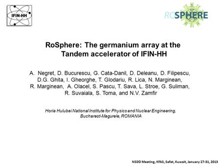 RoSphere: The germanium array at the Tandem accelerator of IFIN-HH