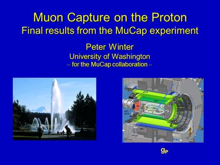 Muon Capture on the Proton Final results from the MuCap experiment Muon Capture on the Proton Final results from the MuCap experiment gPgP Peter Winter.