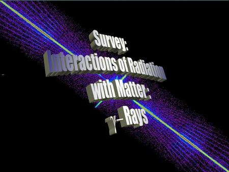 W. Udo Schröder, 2009 Rad. Int. with Matter: Gammas Interaction of Radiation with Matter Gamma Rays 1.