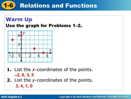 Holt Algebra 2 1-6 Relations and Functions Warm Up Use the graph for Problems 1–2. 1. List the x-coordinates of the points. 2. List the y-coordinates of.