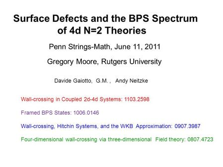 Surface Defects and the BPS Spectrum of 4d N=2 Theories Gregory Moore, Rutgers University Penn Strings-Math, June 11, 2011 Davide Gaiotto, G.M., Andy Neitzke.