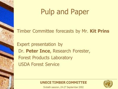 UNECE TIMBER COMMITTEE Sixtieth session, 24-27 September 2002 Pulp and Paper Timber Committee forecasts by Mr. Kit Prins Expert presentation by Dr. Peter.