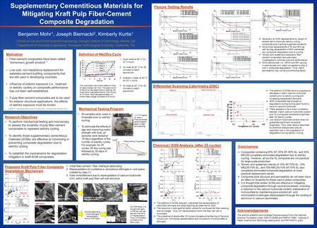 Supplementary Cementitious Materials for Mitigating Kraft Pulp Fiber-Cement Composite Degradation Benjamin Mohr 1, Joseph Biernacki 2, Kimberly Kurtis.
