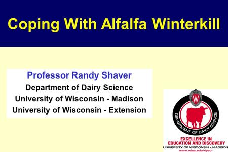 Coping With Alfalfa Winterkill Professor Randy Shaver Department of Dairy Science University of Wisconsin - Madison University of Wisconsin - Extension.