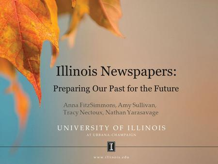 Illinois Newspapers: Anna FitzSimmons, Amy Sullivan, Tracy Nectoux, Nathan Yarasavage Preparing Our Past for the Future.