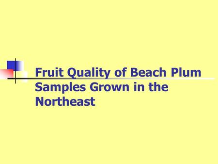 Fruit Quality of Beach Plum Samples Grown in the Northeast.