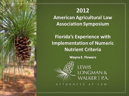 2012 American Agricultural Law Association Symposium Florida's Experience with Implementation of Numeric Nutrient Criteria Wayne E. Flowers.