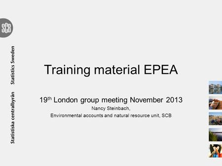 Training material EPEA 19 th London group meeting November 2013 Nancy Steinbach, Environmental accounts and natural resource unit, SCB.