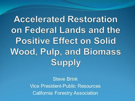 Steve Brink Vice President-Public Resources California Forestry Association.
