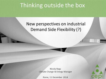Thinking outside the box New perspectives on industrial Demand Side Flexibility (?) Nicola Rega Climate Change & Energy Manager Rome, 11 December 2014.