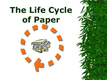 The Life Cycle of Paper. Where Do We Begin When Talking About Paper Throughout history paper has been made of recycled materials.