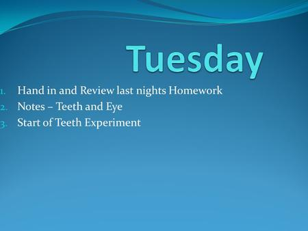 Tuesday Hand in and Review last nights Homework Notes – Teeth and Eye