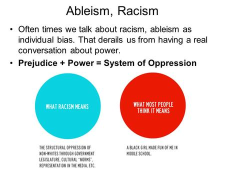 Ableism, Racism Often times we talk about racism, ableism as individual bias. That derails us from having a real conversation about power. Prejudice +