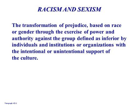 Viewgraph #21-1 RACISM AND SEXISM The transformation of prejudice, based on race or gender through the exercise of power and authority against the group.