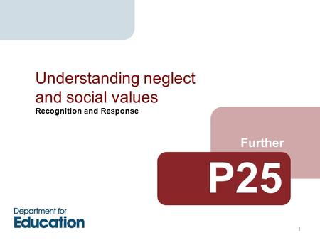 Recognition and Response Further Understanding neglect and social values 1 P25.