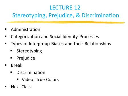 LECTURE 12 Stereotyping, Prejudice, & Discrimination  Administration  Categorization and Social Identity Processes  Types of Intergroup Biases and their.