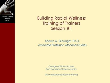 C ésar E. Chavez Institute SFSU Building Racial Wellness Training of Trainers Session #1 Shawn A. Ginwright, Ph.D. Associate Professor, Africana Studies.