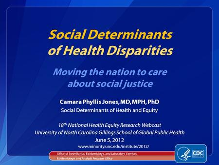 Camara Phyllis Jones, MD, MPH, PhD Social Determinants of Health and Equity 18 th National Health Equity Research Webcast University of North Carolina.