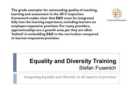 Equality and Diversity Training Stefan Fusenich