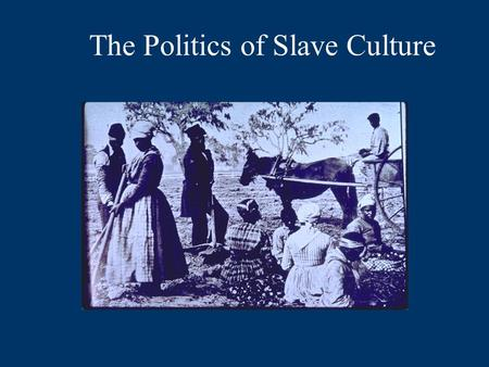 The Politics of Slave Culture. Puzzles to Consider for Next Week  Why did northerners and southerners come to distrust each other?  Why did southerners.