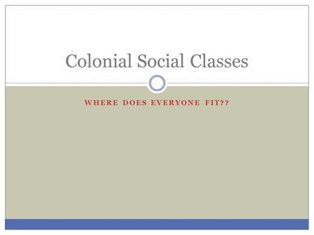 WHERE DOES EVERYONE FIT?? Colonial Social Classes.