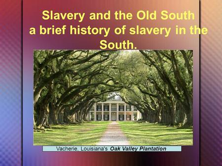 Slavery and the Old South a brief history of slavery in the South. Vacherie, Louisiana's Oak Valley Plantation.
