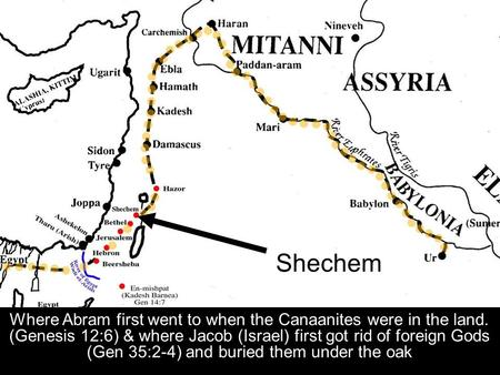 Where Abram first went to when the Canaanites were in the land. (Genesis 12:6) & where Jacob (Israel) first got rid of foreign Gods (Gen 35:2-4) and buried.