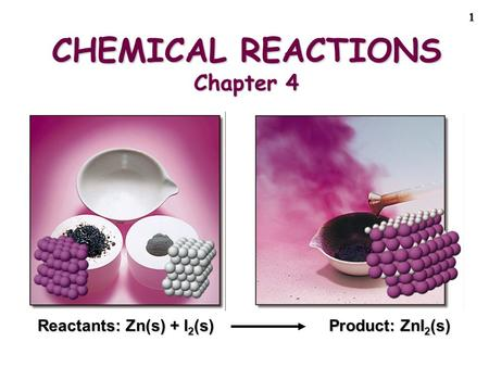 1 CHEMICAL REACTIONS Chapter 4 Reactants: Zn(s) + I 2 (s) Product: ZnI 2 (s)