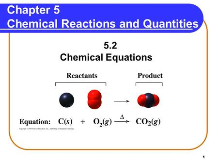 1 Chapter 5 Chemical Reactions and Quantities 5.2 Chemical Equations.