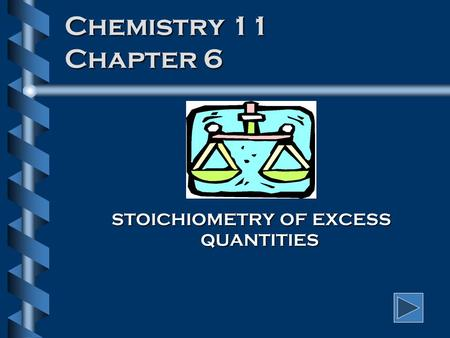 Chemistry 11 Chapter 6 STOICHIOMETRY OF EXCESS QUANTITIES.