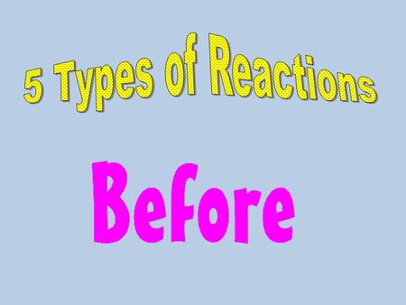 5 Common Reaction Types: -synthesis-decomposition -combustion-single displacement -double displacement synthesis - means to make something or build Example: