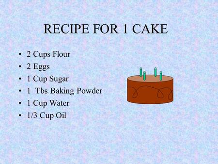 RECIPE FOR 1 CAKE 2 Cups Flour 2 Eggs 1 Cup Sugar 1 Tbs Baking Powder 1 Cup Water 1/3 Cup Oil.