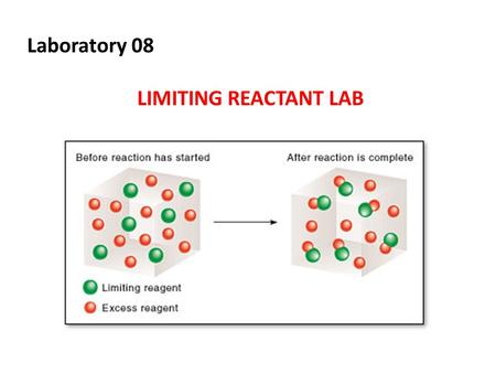 Laboratory 08 LIMITING REACTANT LAB. Objectives 1.Understand mole-to-mole ratio in a balanced chemical reaction 2.Identify the limiting and excess reactant.