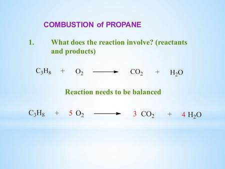 COMBUSTION of PROPANE 1.What does the reaction involve? (reactants and products) Reaction needs to be balanced.