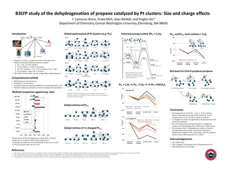 B3LYP study of the dehydrogenation of propane catalyzed by Pt clusters: Size and charge effects T. Cameron Shore, Drake Mith, Staci McNall, and Yingbin.