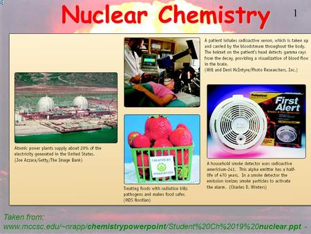 1 Nuclear Chemistry Taken from: www.mccsc.edu/~nrapp/chemistrypowerpoint/Student%20Ch%2019%20nuclear.ppt -